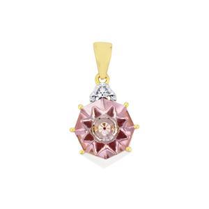 Lehrer KaleidosCut Rose De France Amethyst, Thai Ruby Pendant with Diamond in 10K Gold 5.11cts (F)