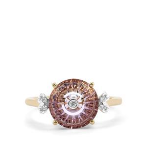 Lehrer TorusRing Rose De France Amethyst Ring with Diamond in 9K Gold 2.65cts