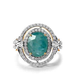 Grandidierite Ring with Diamond in 18K Gold 3.53cts