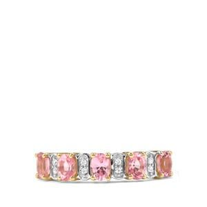 Mozambique Pink Spinel & White Zircon 9K Gold Ring ATGW 0.96cts