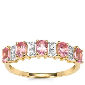 Mozambique Pink Spinel Ring with White Zircon in 9K Gold 0.96ct