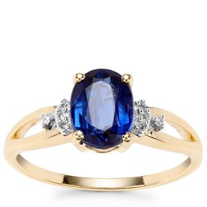 Daha Kyanite Ring with Diamond in 10K Gold 1.61cts