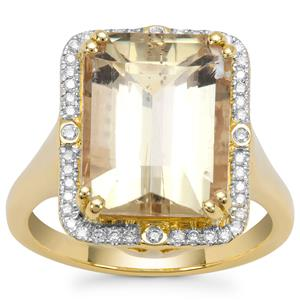 Imperial Scapolite Ring with Diamond in 18K Gold 6.93cts
