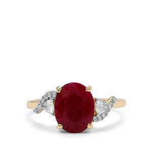 Burmese Ruby & White Zircon 9K Gold Ring ATGW 3.65cts