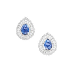 Rose Cut Sapphire Earrings with White Zircon in Sterling Silver 2.06cts