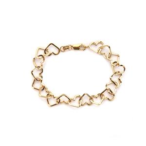 "7.5"" 9K Gold Altro Open Heart Link Bracelet 3.89g"