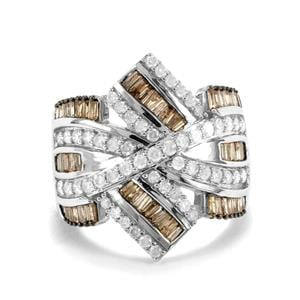1.65ct Champagne & White Diamond Sterling Silver Ring