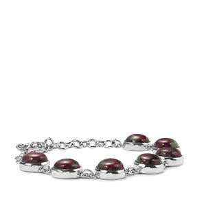 34.87ct Ruby-Zoisite Sterling Silver Bracelet