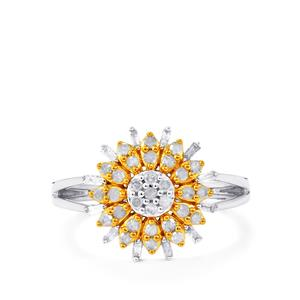 Diamond Ring in Two Tone Gold Plated Sterling Silver 0.51ct