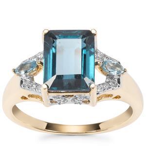 Orissa Kyanite, London Blue Topaz & White Zircon in 9K Gold 3.25cts
