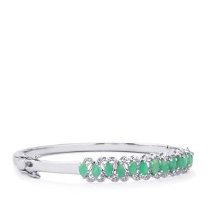 Carnaiba Brazilian Emerald Oval Bangle with Diamond in Sterling Silver 2.87cts