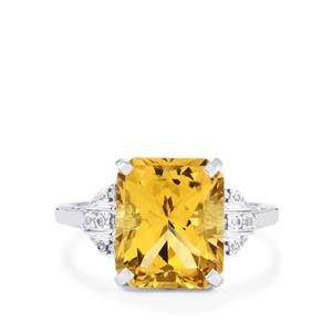 Diamantina Citrine & White Topaz Sterling Silver Ring ATGW 5.58cts