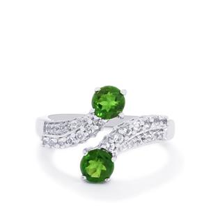 Chrome Diopside & White Topaz Sterling Silver Ring ATGW 1.47cts