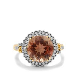 Oregon Peach Sunstone Ring with Diamond in 18K Gold 5.10cts
