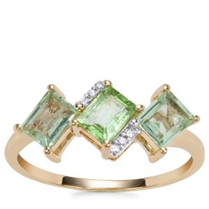 Paraiba Tourmaline Ring with Diamond in 9K Gold 1.03cts