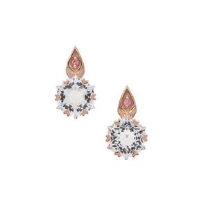 Wobito Snowflake Cut White Topaz Earrings with Pink Tourmaline in 9K Rose Gold 5.90cts