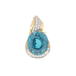 Ratanakiri Blue Zircon Pendant with Diamond in 18K Gold 7.47cts
