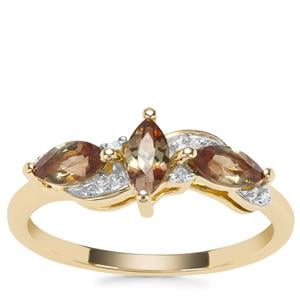 Sopa Andalusite Ring with Diamond in 9K Gold 0.71ct