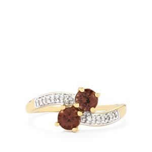 Color Change Garnet Ring with Diamond in 10k Gold 0.95ct