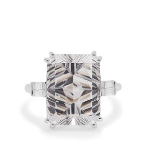 Sahl Cut Optic Quartz Ring with White Zircon in Sterling Silver 11.30cts