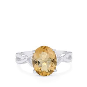Natural Bolivian Champagne Quartz Ring in Sterling Silver 2.92cts