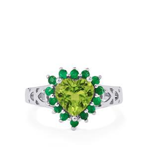 Changbai Peridot & Santa Terezinha Emerald Sterling Silver Ring ATGW 2.33cts
