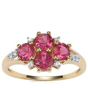 Cruzeiro Pink Tourmaline Ring with White Zircon in 9K Gold 1.45cts