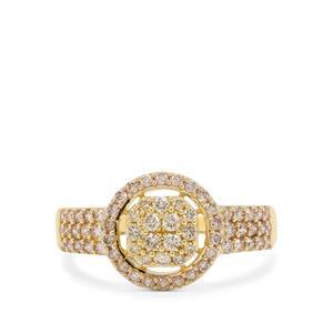 3/4ct Champagne Argyle Diamond 9K Gold Ring