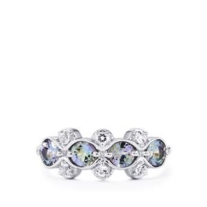 Bi-Color Tanzanite Ring with White Topaz in Sterling Silver 1.22cts