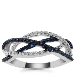 'The Double Infinity' Blue Diamond Ring in Sterling Silver