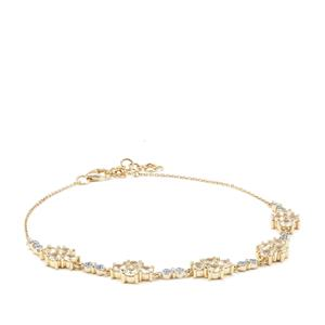 Ceylon White Sapphire Bracelet in 9K Gold 4.01cts