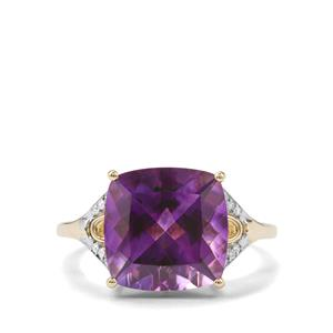 Moroccan Amethyst Ring with Diamond in 10K Gold 4.73cts