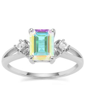 Mercury Mystic Topaz Ring with White Zircon in Sterling Silver 2.04cts
