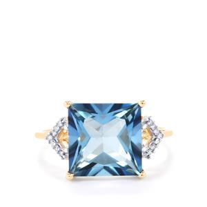 Santa Maria Topaz Ring with Diamond in 9K Gold 5.90cts