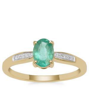 Malysheva Emerald Ring with Diamond in 9K Gold 0.80ct