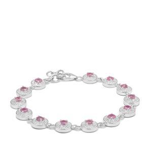 4.77ct Ilakaka Hot Pink Sapphire Sterling Silver Bracelet (F)