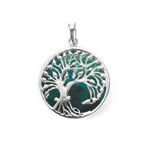 Chrysocolla Tree of Life Pendant in Sterling Silver 17.50cts