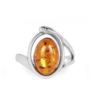 Baltic Cognac Amber Ring in Sterling Silver (11.50 x 8mm)