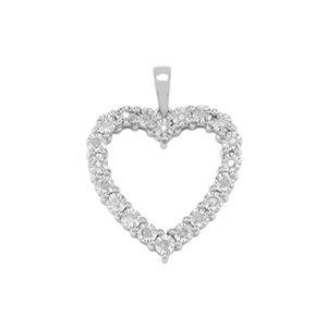 1/8ct Diamond Sterling Silver Halo Diamonds Pendant
