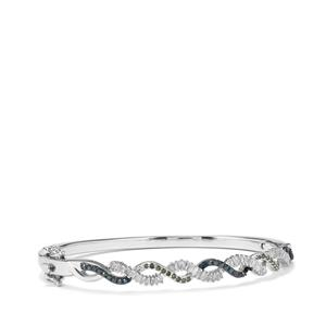 Blue, Green Diamond Bangle with White Diamond in Sterling Silver 1ct