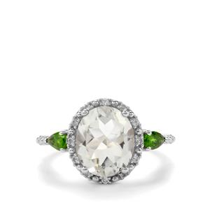 Prasiolite, Chrome Diopside Ring with White Topaz in Sterling Silver 3.74cts