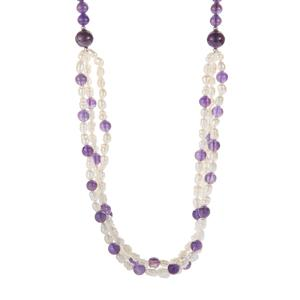 Naturally Coloured Pearl Necklace with Zambian Amethyst in Sterling Silver