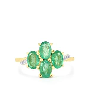 Zambian Emerald Ring with Diamond in 10k Gold 1.73cts