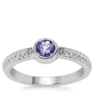 AA Tanzanite Ring with White Diamond in Sterling Silver 0.45ct