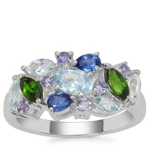 Kaleidoscope Gemstone Ring in Sterling Silver 2.89cts