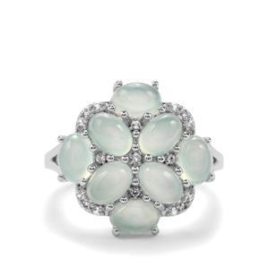 Aquaprase™ & White Topaz Sterling Silver Ring ATGW 4.51cts