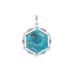 Bonita Blue Turquoise & White Zircon Sterling Silver Pendant ATGW 15.02cts