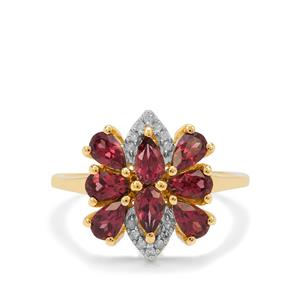 Malaya Garnet Ring with Diamond in 9K Gold 2.05cts