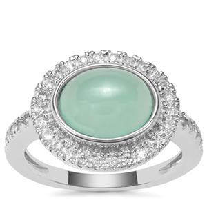 Prase Green Opal Ring with White Zircon in Sterling Silver 3.34cts