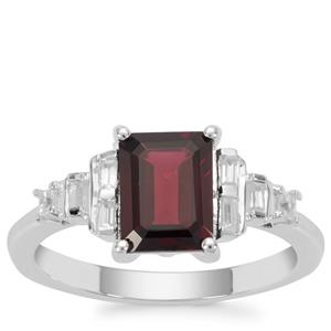 Octavian Garnet Ring with White Zircon in Sterling Silver 2.16cts